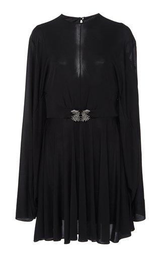 Belted Cape-Effect Chiffon Mini Dress