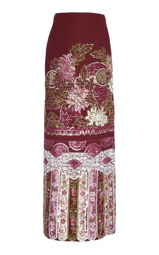 Embellished Wool Silk Maxi Skirt