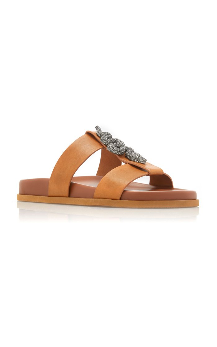 Snake-Buckle Leather Sandals