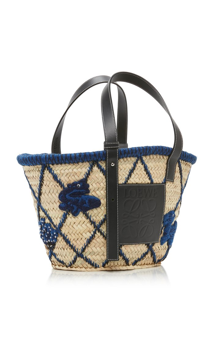 Leather-Trimmed Embroidered Straw Tote