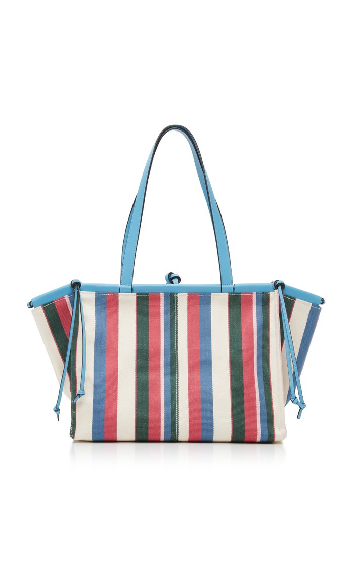 Cushion Striped Leather-Trimmed Canvas Tote