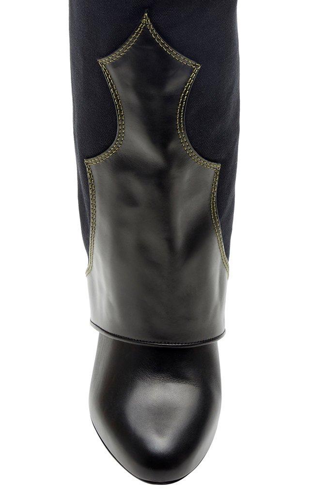 Blake Leather-Paneled Canvas Knee Boots