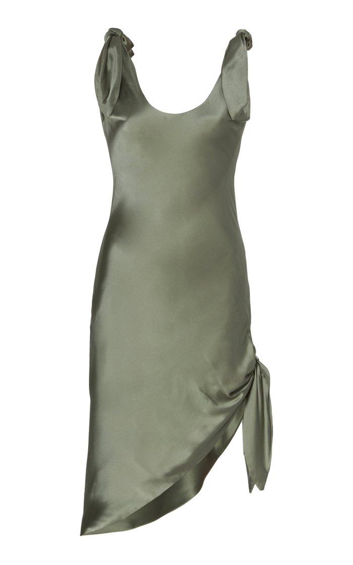 Delilah Tie-Detailed Silk-Satin Mini Dress