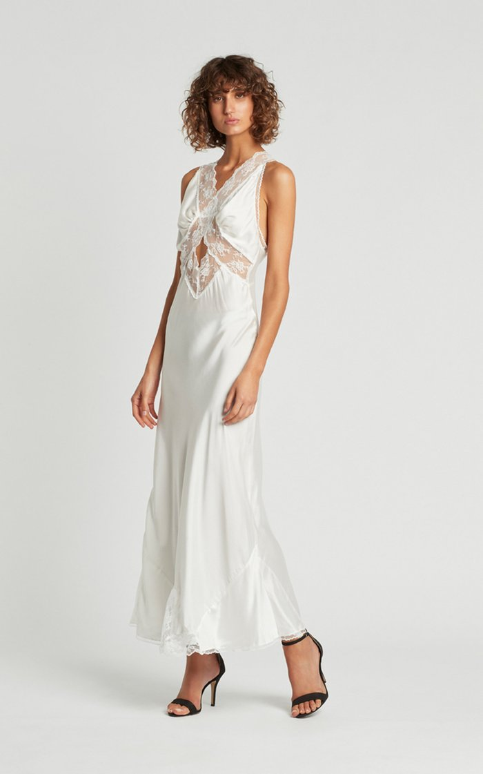 Aries Lace-Trimmed Silk-Satin Maxi Dress