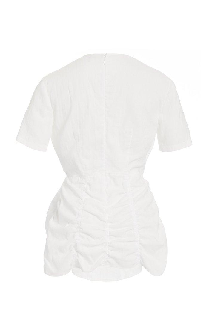 Gathered Cotton-Jersey T-Shirt