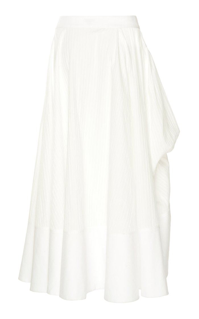 Gathered Paneled Cotton Midi Skirt