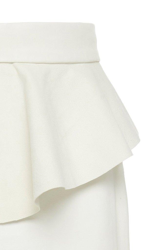 Bewildering Leather Peplum Midi Skirt