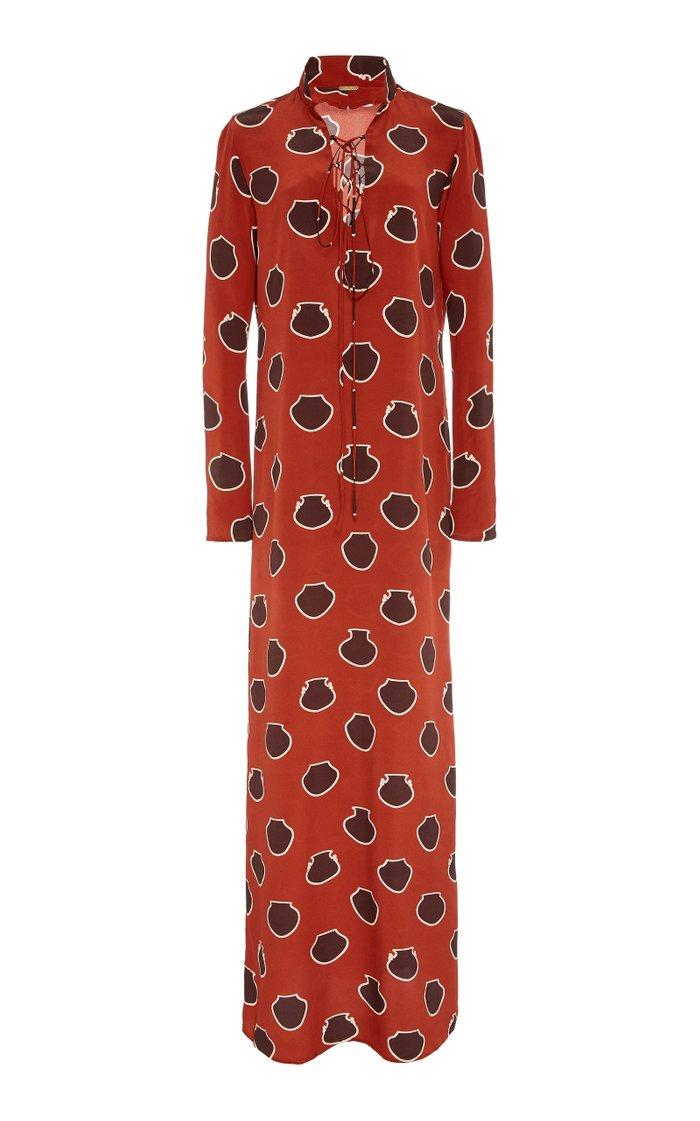 Lace-Up Polka-Dot Silk-Crepe De Chine Maxi Dress