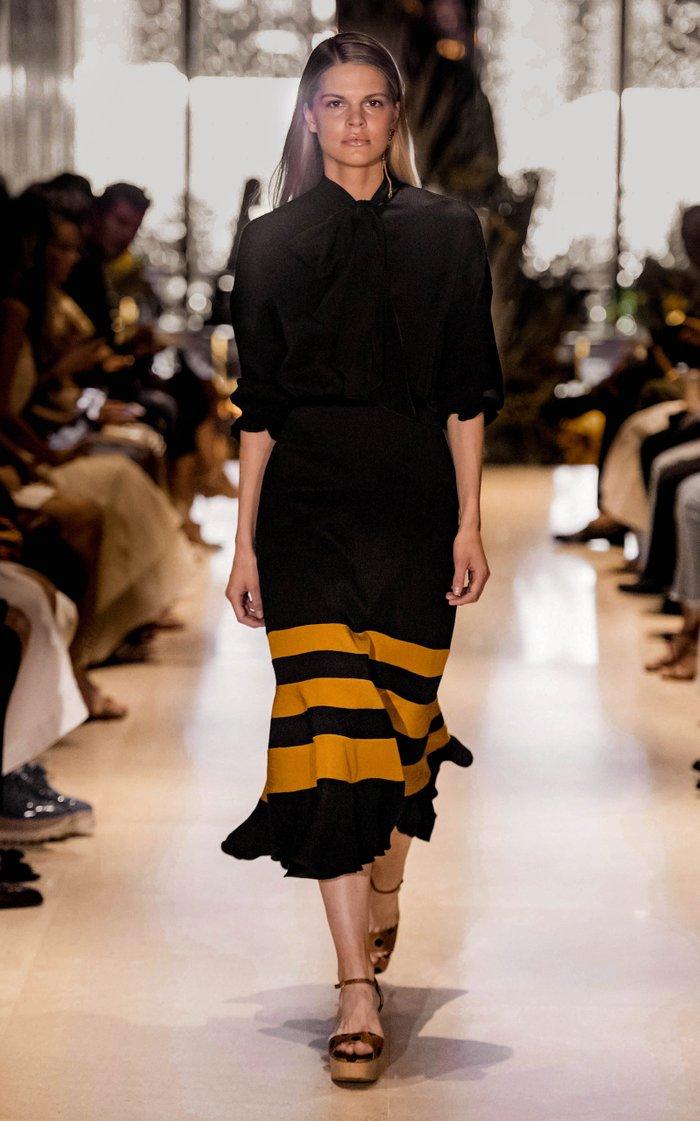 Scarf-Detailed Striped Satin Midi Dress