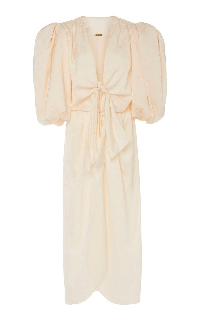 Bow-Detailed Satin-Jacquard Midi Dress