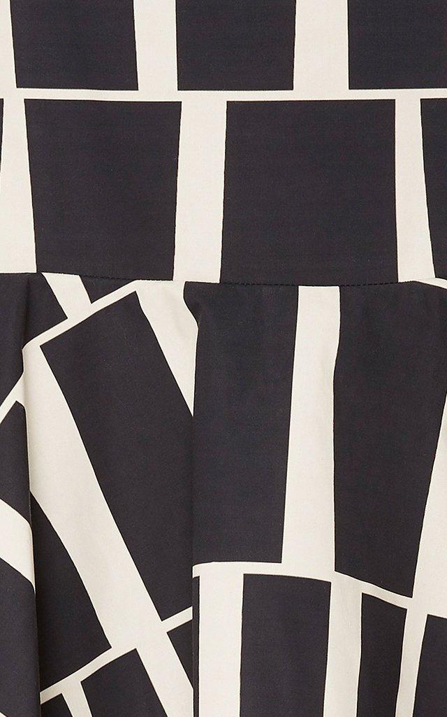 Vanguard Tiered Printed Cotton Midi Skirt