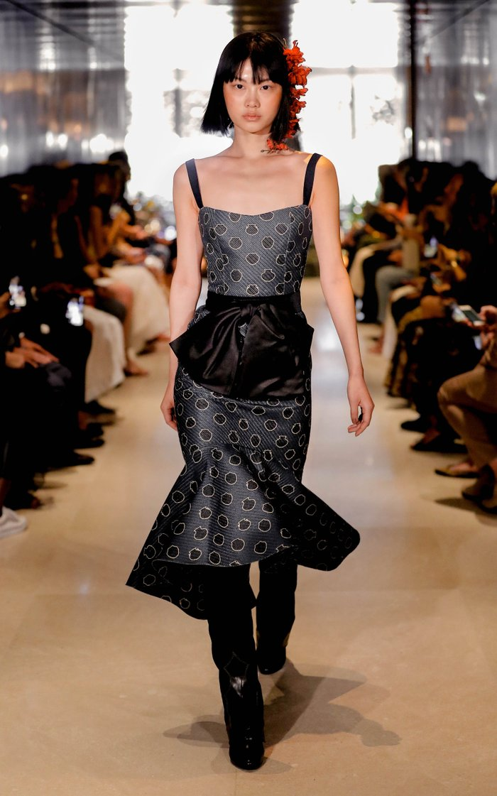 Printed Canvas Midi Dress