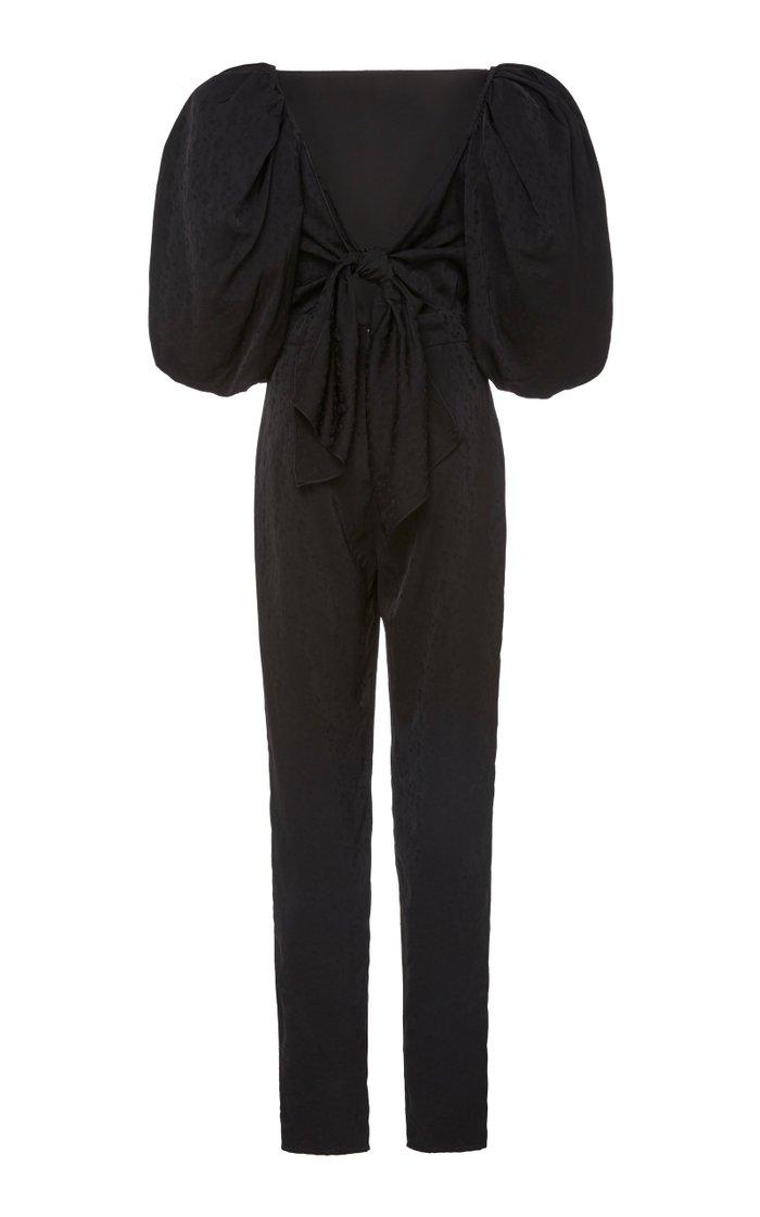 Tie-Back Satin Floral-Jacquard Jumpsuit