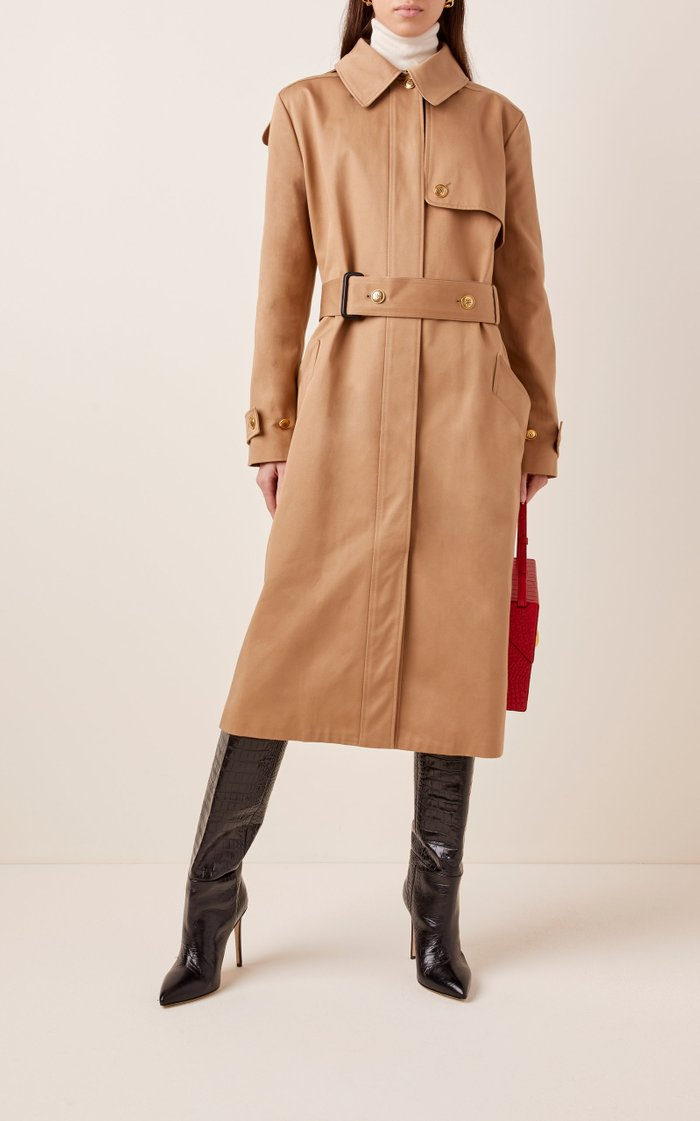 Striped Cotton-Gabardine Trench Coat