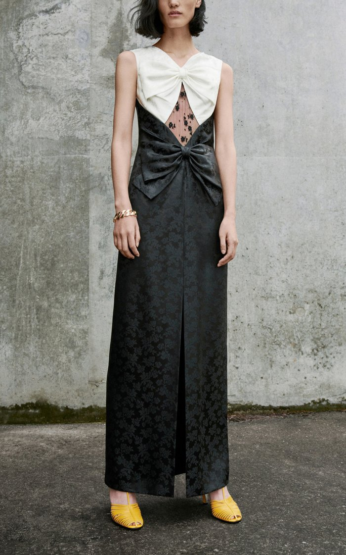 Bow-Embellished Lace-Paneled Floral-Brocade Gown