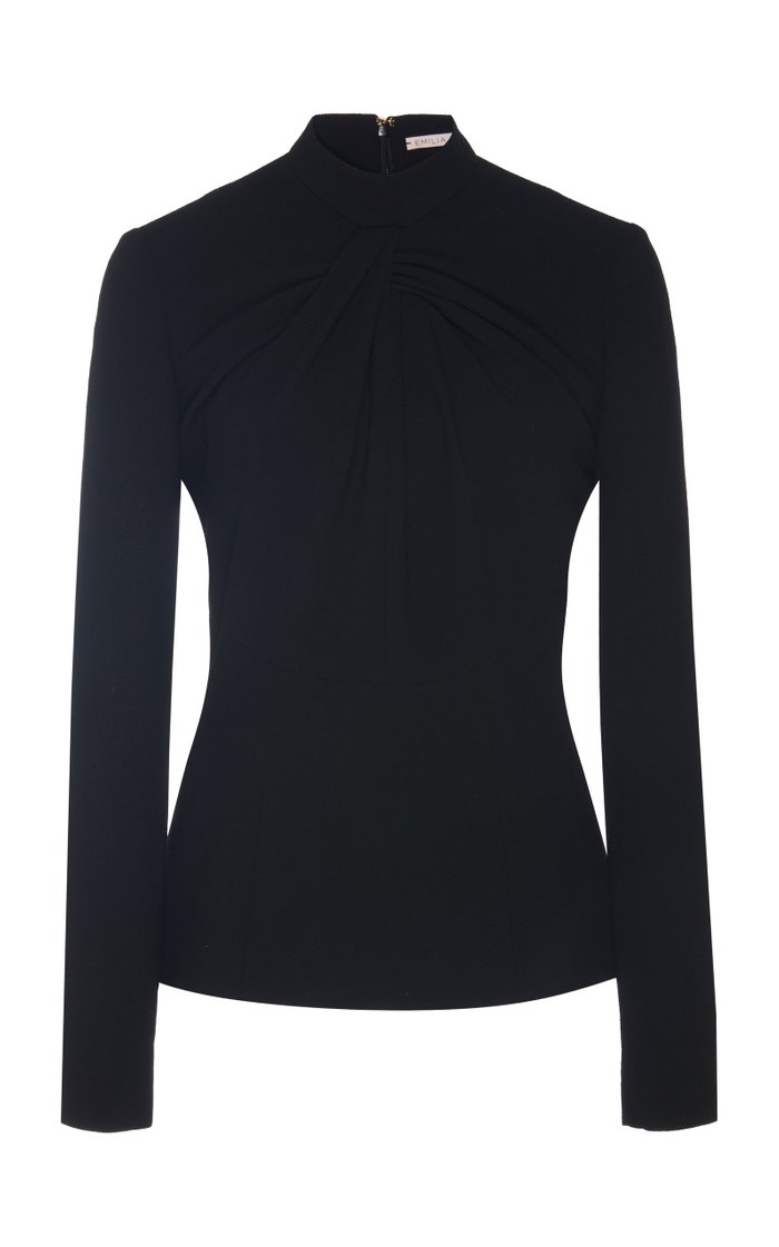 Reina Abstract-Patterned Crepe Blouse