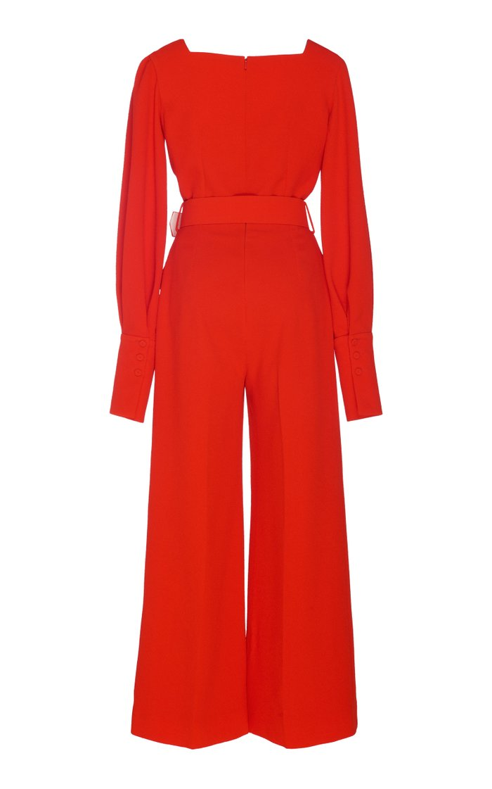 Patrice Belted Stretch-Cady Jumpsuit