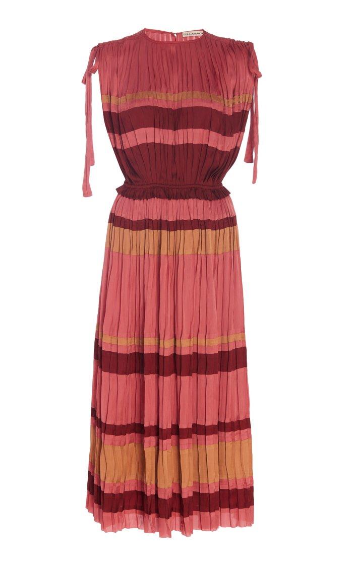 Alessa Striped Plissé-Satin Midi Dress