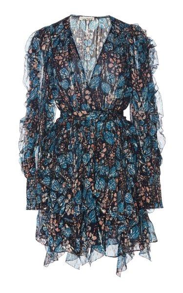 Natalia Floral-Print Silk and Lurex-Blend Mini Dress
