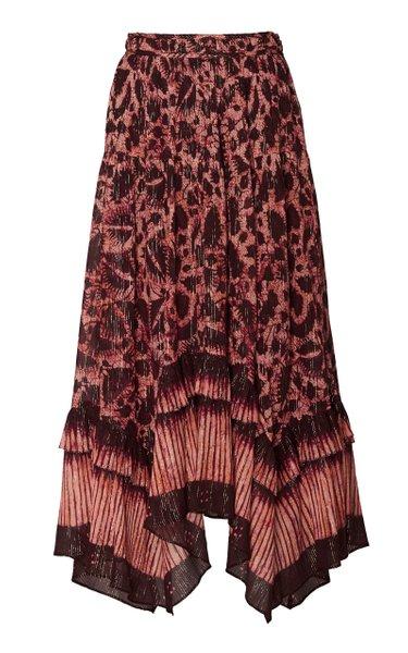 Merisa Printed Cotton-Blend Midi Skirt