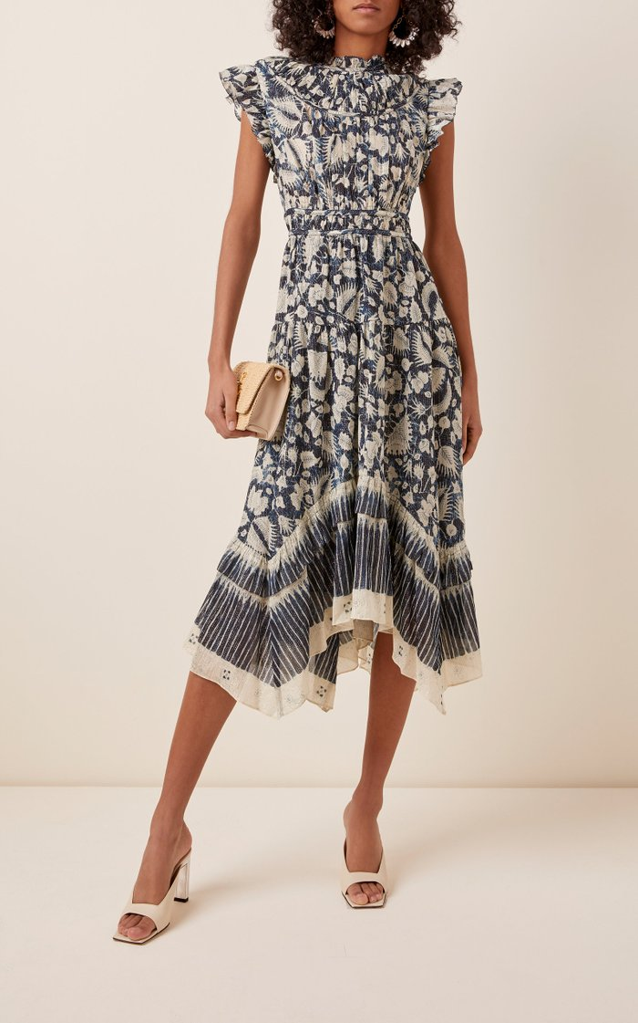 Amalia Floral-Print Cotton and Silk-Blend Midi Dress
