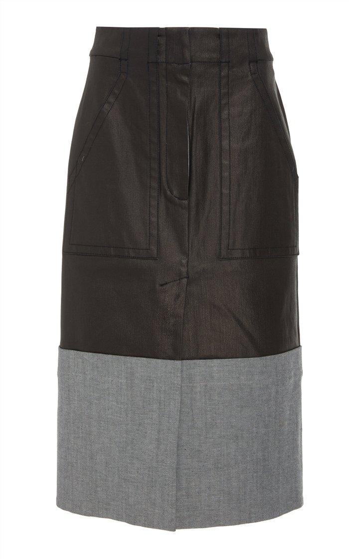 Coated Denim Cargo Skirt