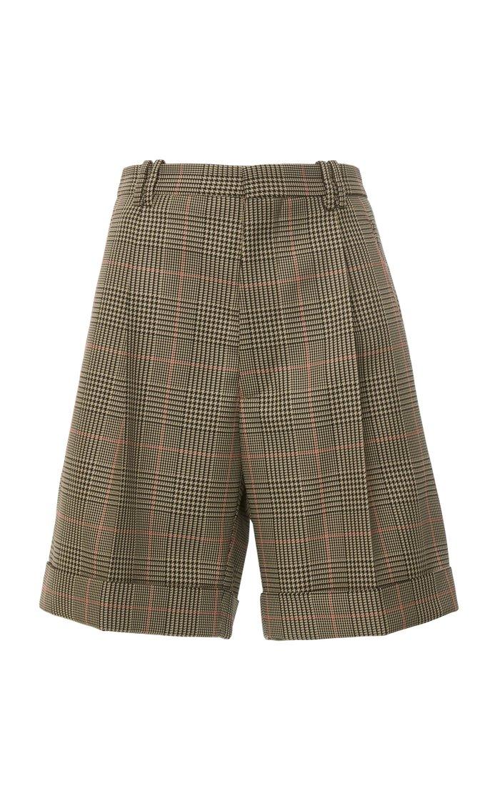 High-Rise Plaid Twill Shorts