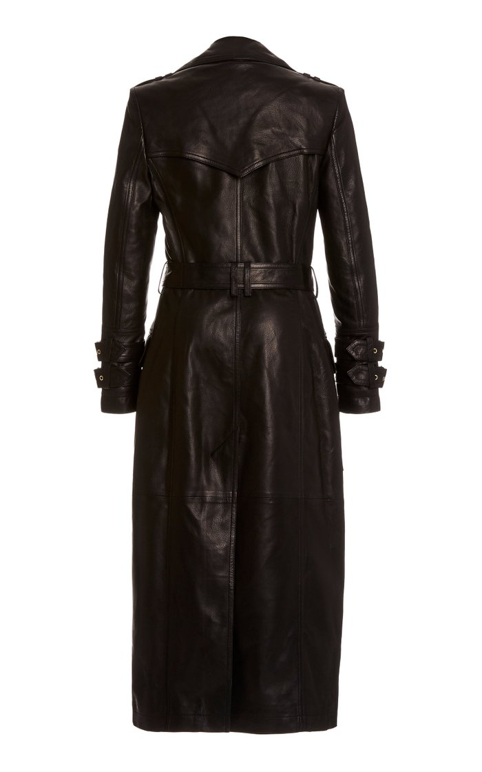 Belted Double-Breasted Calfskin Trench Coat
