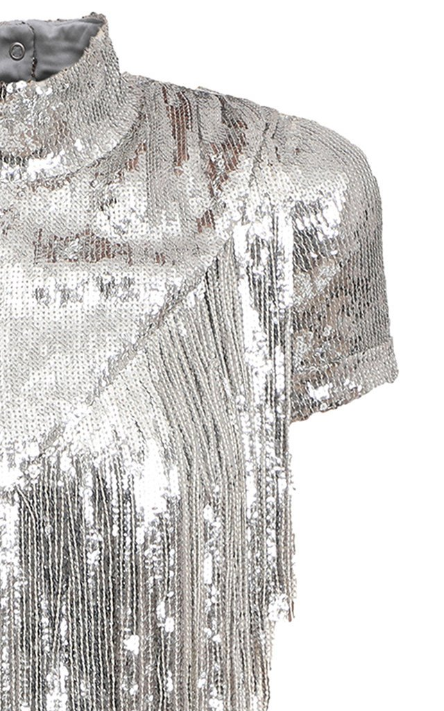 Fringed Asymmetric Sequined Top