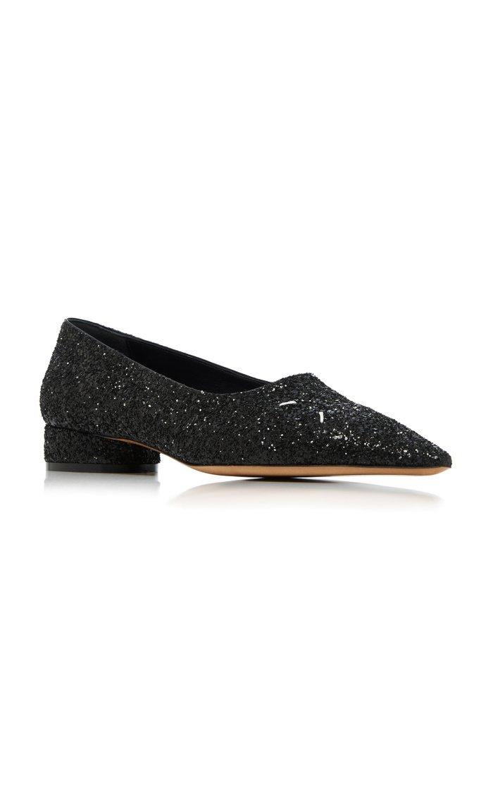 Cinderella Glittered Leather Point-Toe Flats
