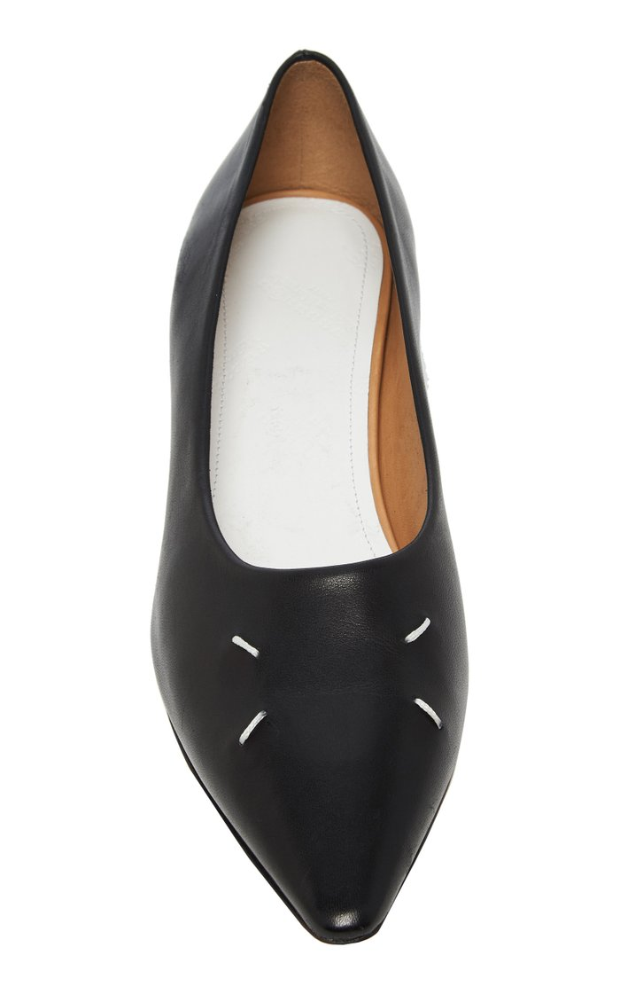 Embroidered Leather Flats