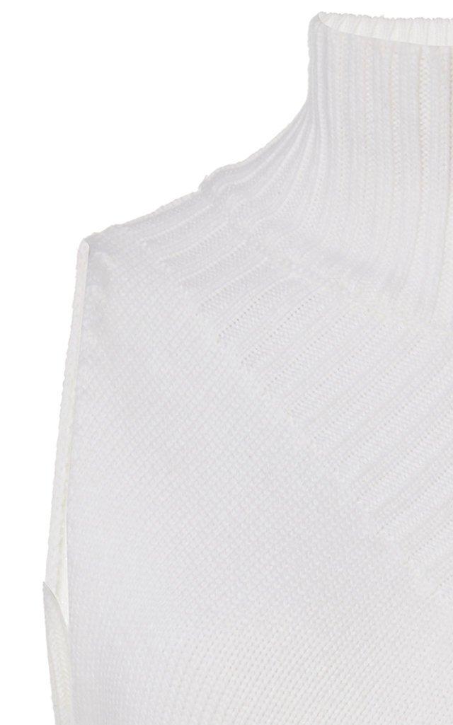 One-Shoulder Intarsia-Wool Turtleneck Sweater