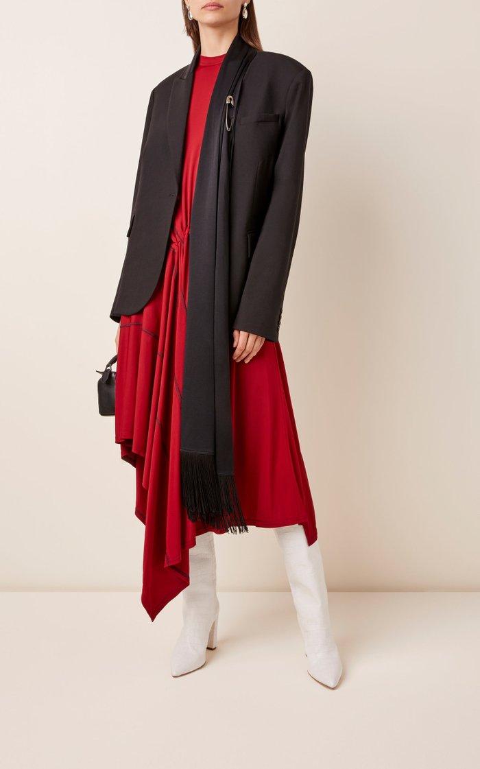 Attached Scarf Wool-Blend Blazer