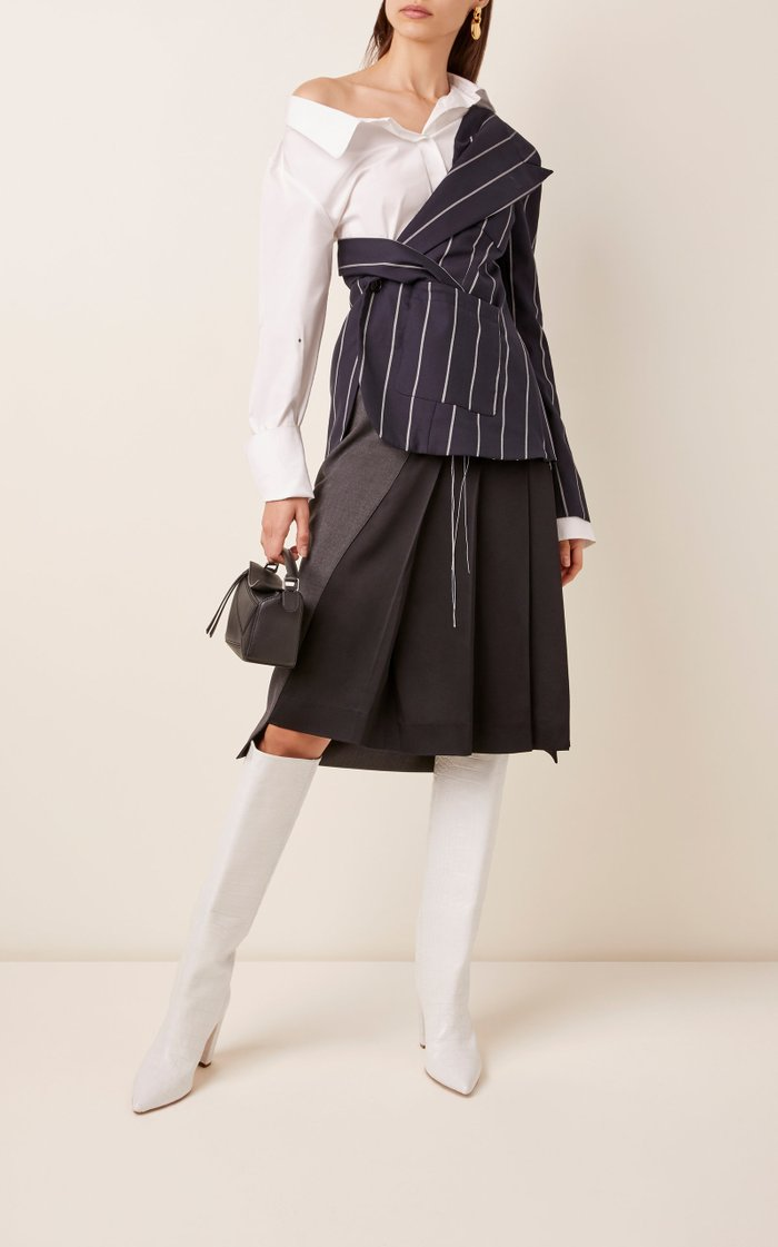 Pinstriped Wool And Stretch-Cotton Top