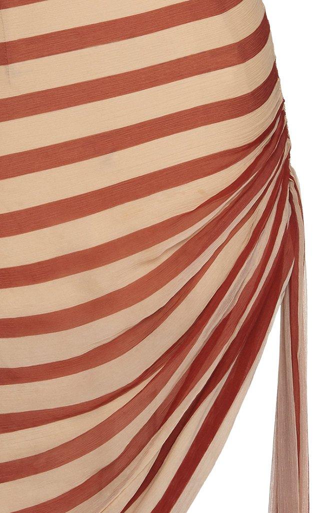 One-Shoulder Striped Silk Mini Dress