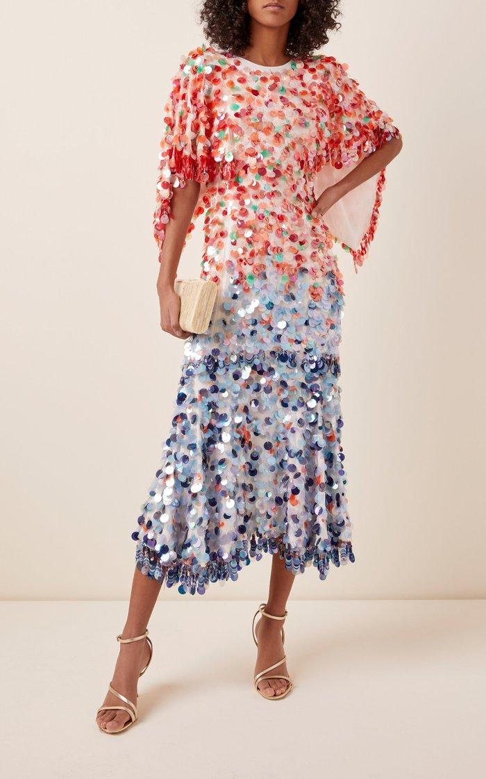 Two-Tone Sequined Silk-Georgette Midi Dress