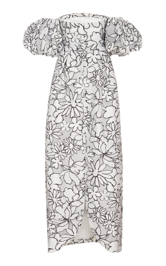 Floral Print Puff Sleeve Gown
