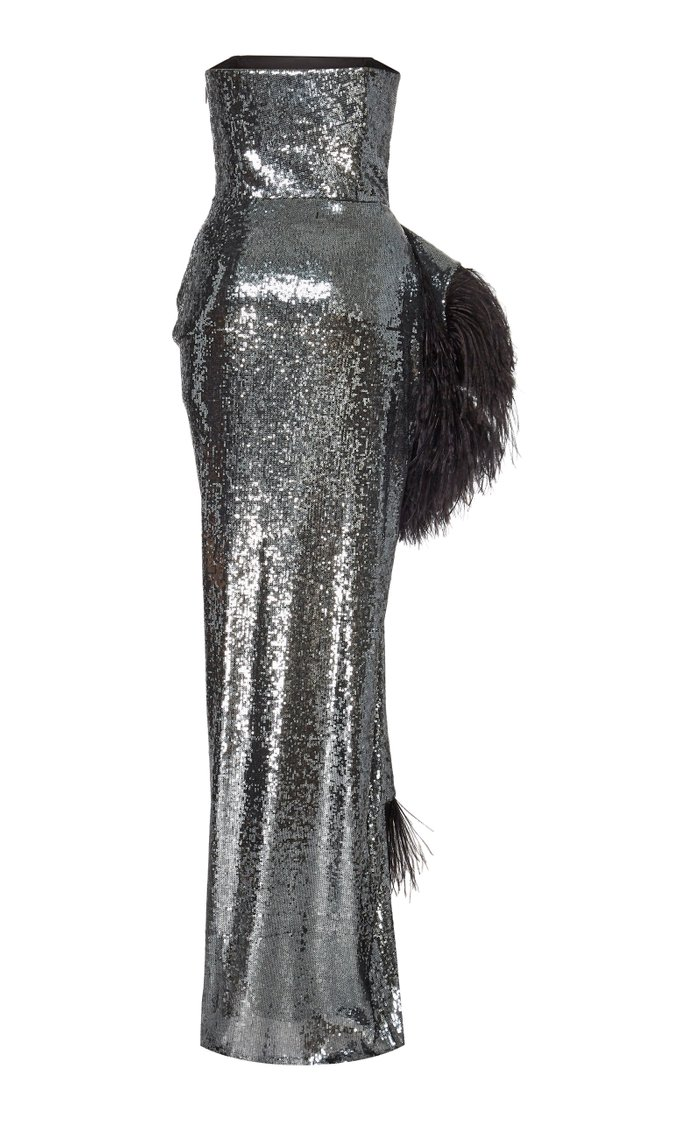 Feather-Trimmed Sequined Crepe Gown