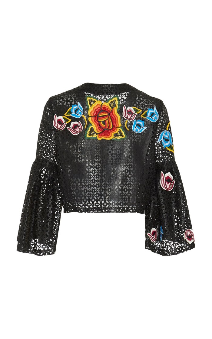 Cropped Floral-Embroidered Laser-Cut Leather Jacket