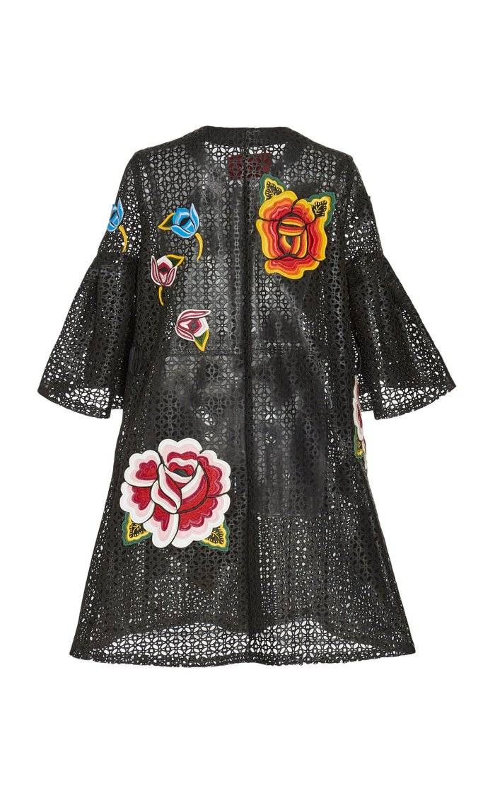 Floral-Embroidered Laser-Cut Leather Coat
