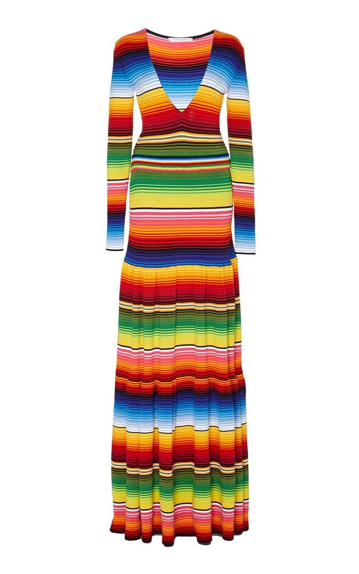 Striped Cotton-Blend Maxi Dress