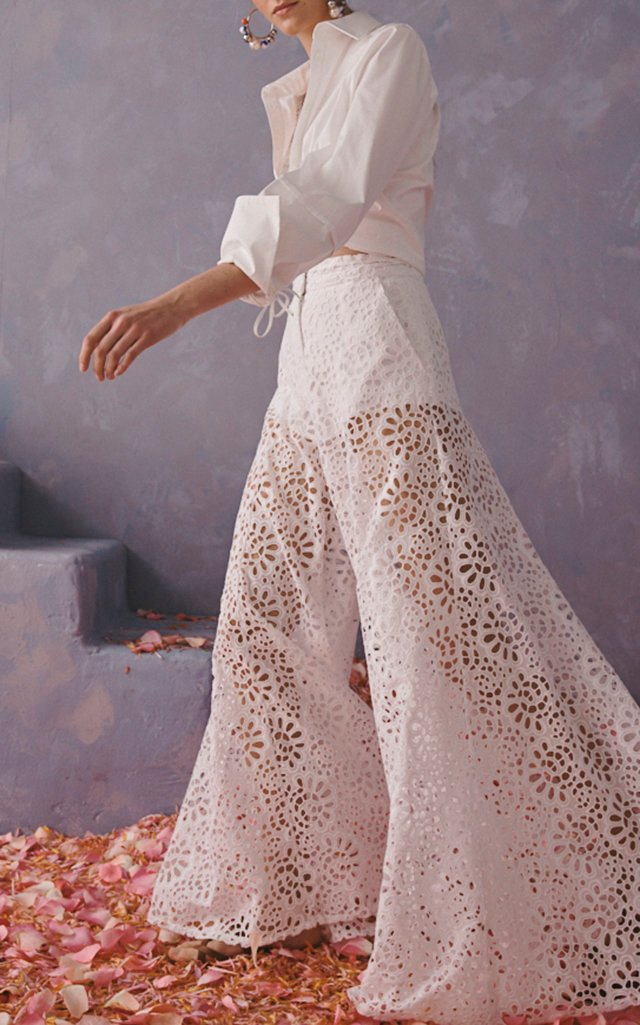 Broderie-Anglaise Cotton Wide-Leg Pants
