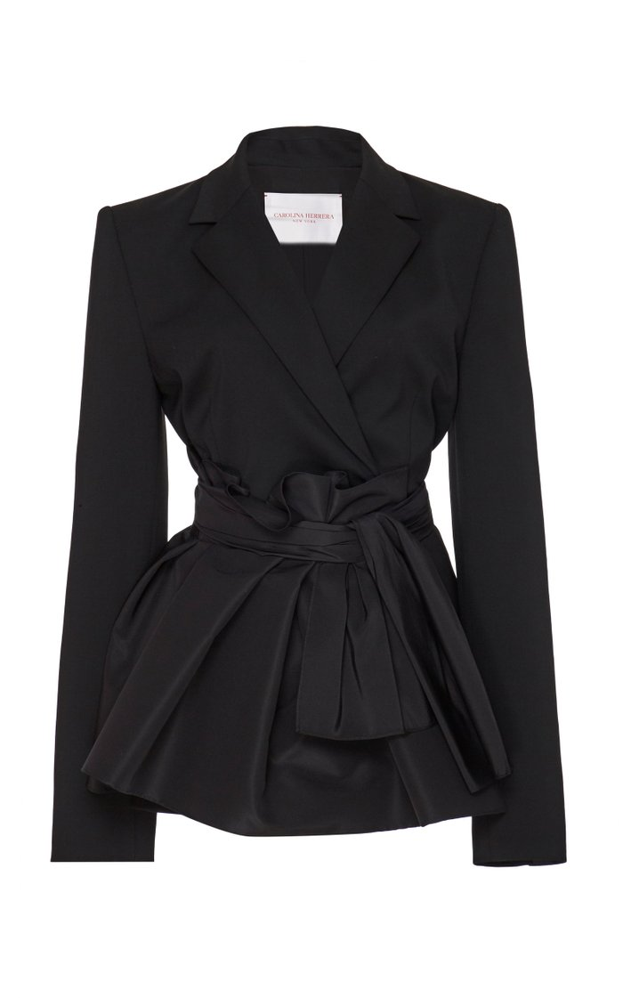 Wrap Waist Stretch-Wool Blazer