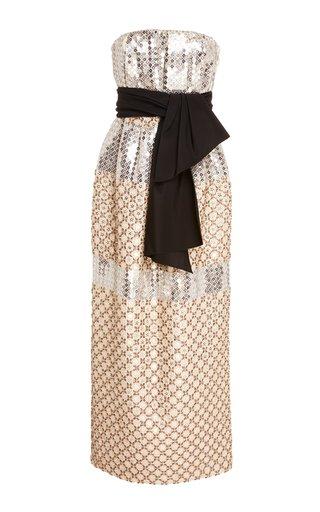 Metallic Sequined Silk-Jacquard Midi Dress
