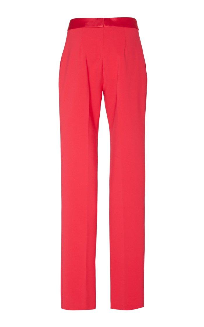 Satin-Trimmed Cady Straight-Leg Pants
