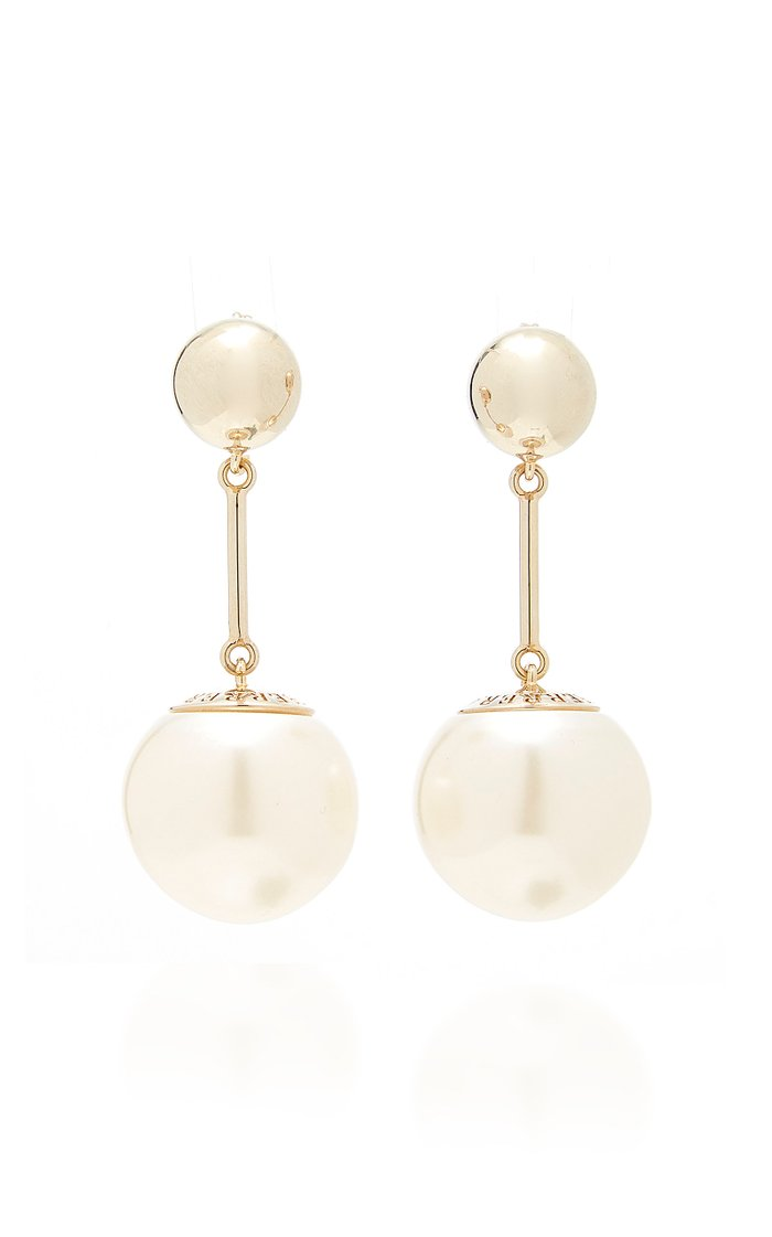 Gold-Plated And Faux Pearl Drop Earrings
