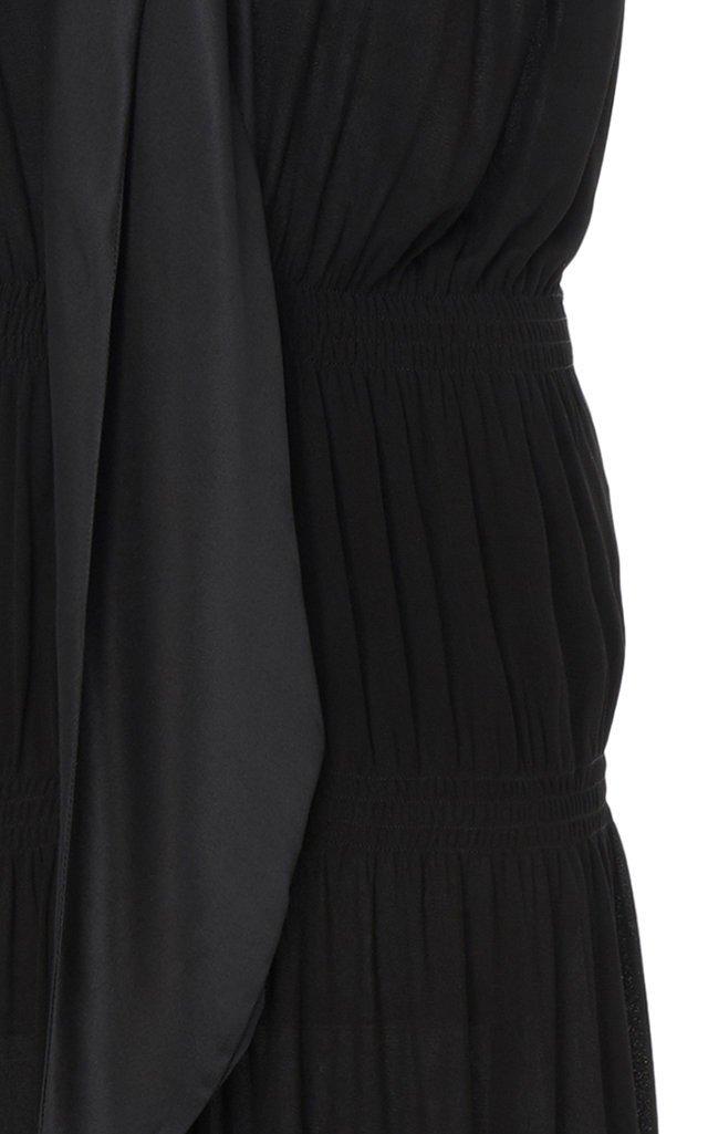 Two-Tone Tie-Detailed Georgette Midi Dress