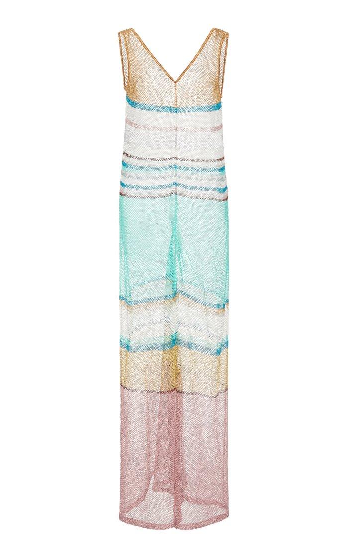 Striped Crochet-Knit Jumpsuit