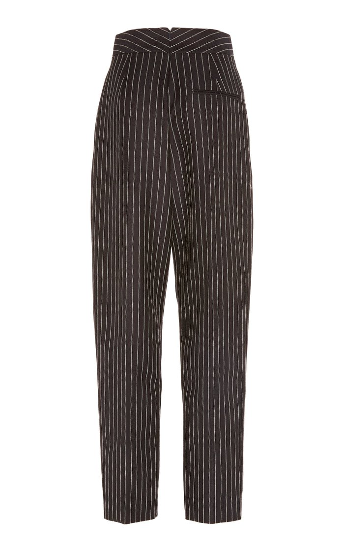 Cropped Striped Wool-Blend Tapered Pants