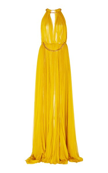 Embellished Pleated Silk Gown